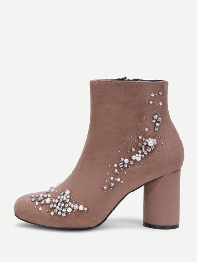 Block Heeled Ankle Boots With Jewelry