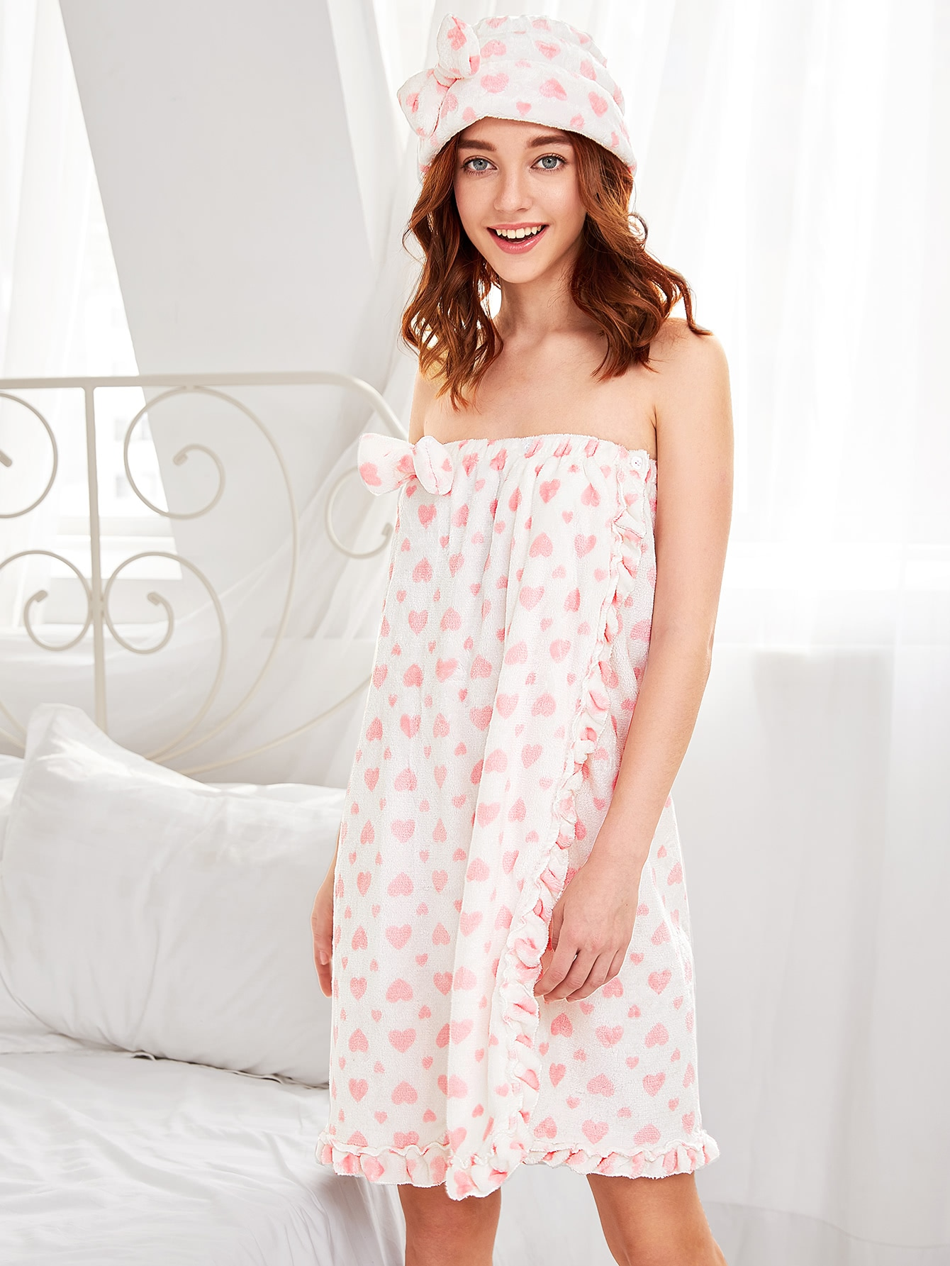 Frill Trim Bathroom Spa Wrap With Shower Cap frill trim plaid wrap skirt