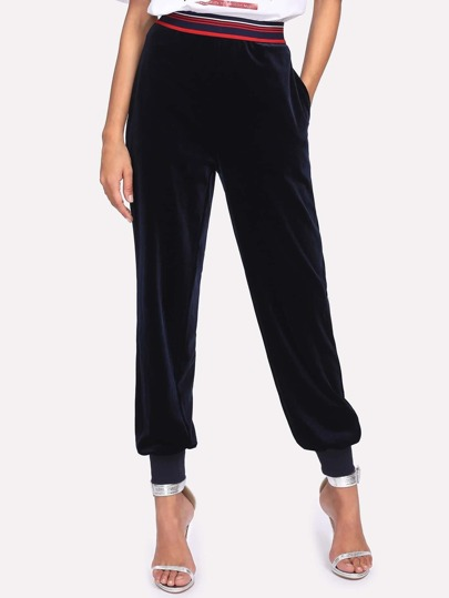 Striped Waist Ribbed Hem Velvet Pants