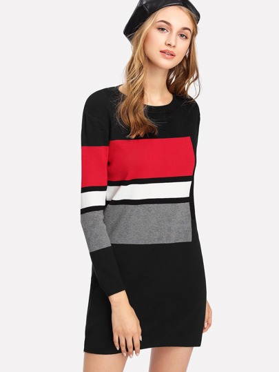 Contrast Striped Sweater Dress
