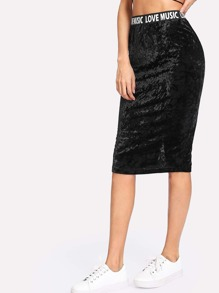 Printed Waist Crushed Velvet Skirt