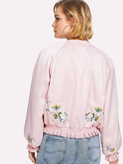 Knit Ruffle Hem Embroidered Jacket