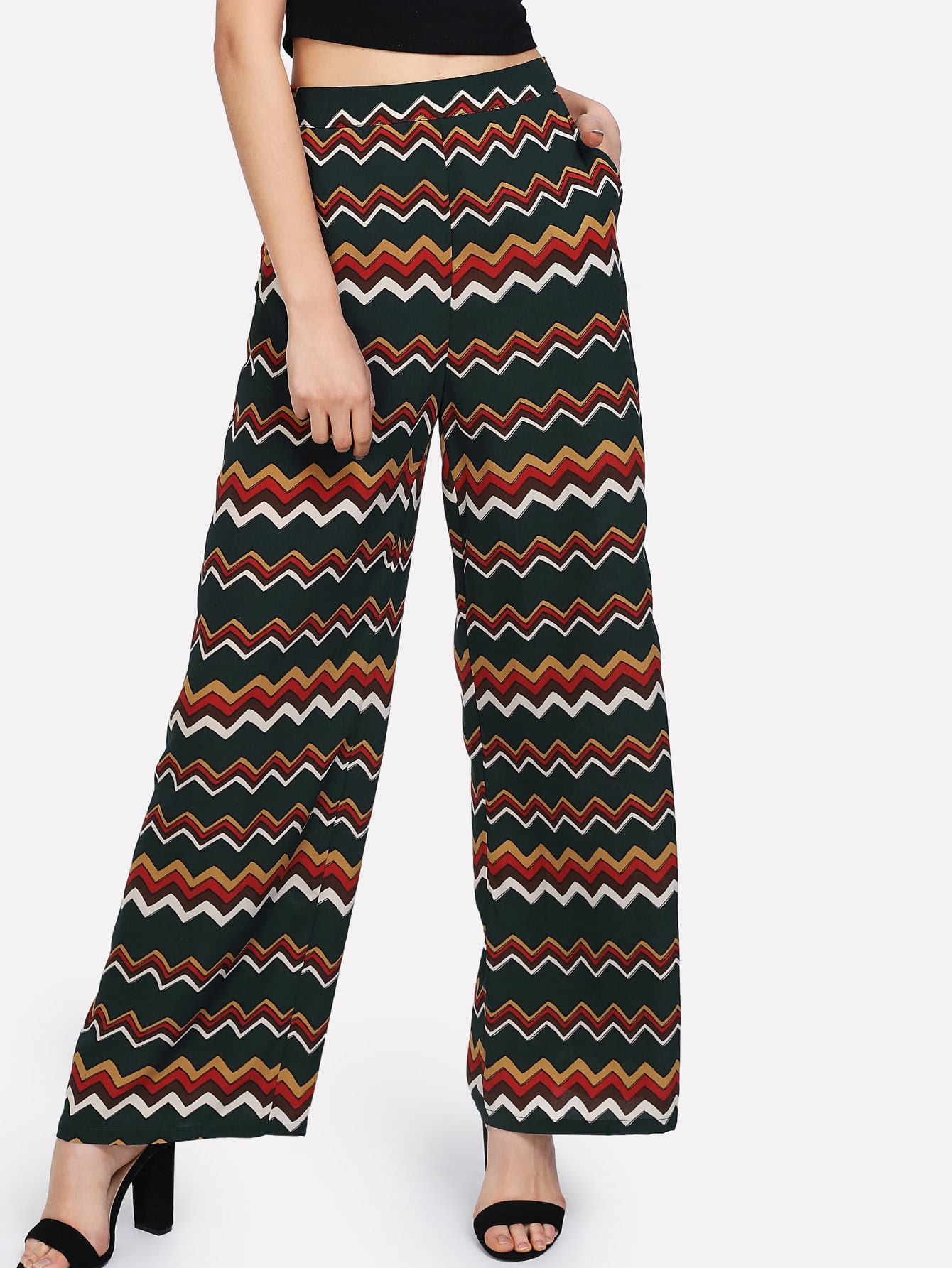 Allover Chevron Print Wide Leg Pants все цены