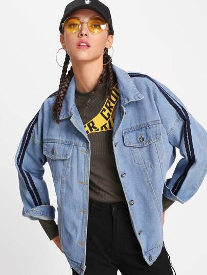 Ribbon Contrast Drop Shoulder Denim Jacket