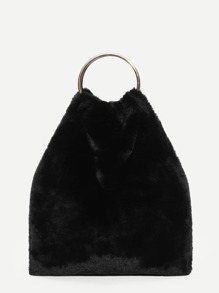 Faux Fur Tote Bag With Ring Handle