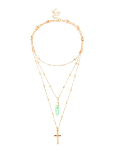 Cross & Stone Pendant Layered Chain Necklace