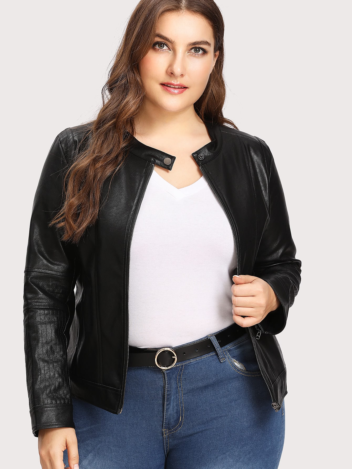 Zip Cuff Detail Faux Leather Jacket