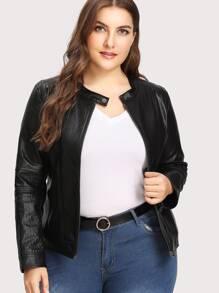 Zip Cuff Detail Faux Leather Jacket