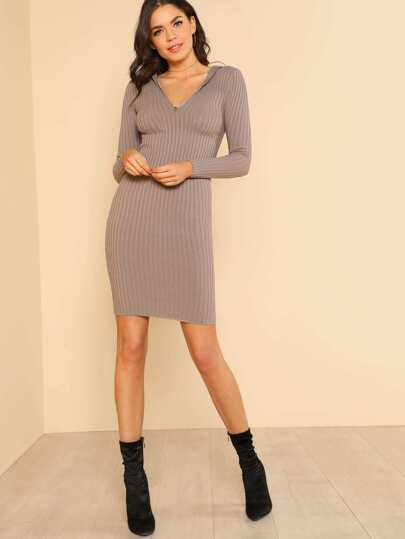 Ribbed Knit Fitted Hoodie Dress