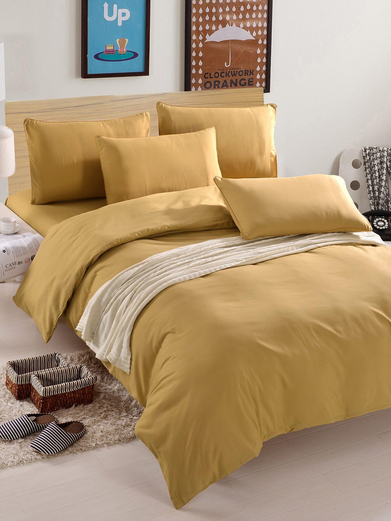 1.8m 4Pcs Simple Solid Colour Bed Sheet Set