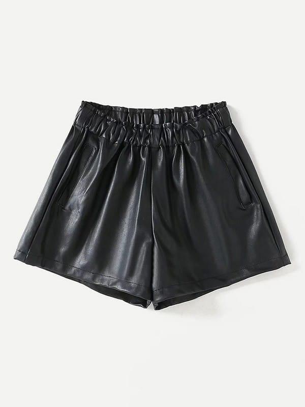 Frill Waist PU Shorts