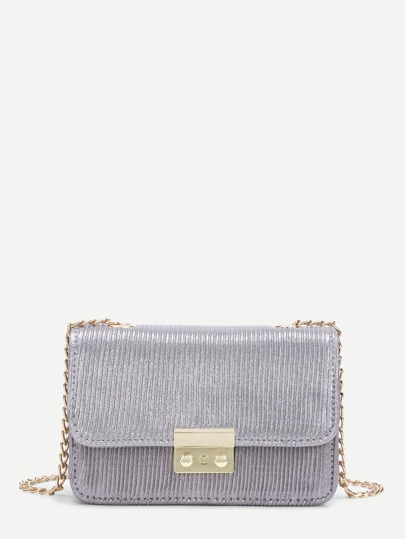 PU Flap Crossbody Chain Bag