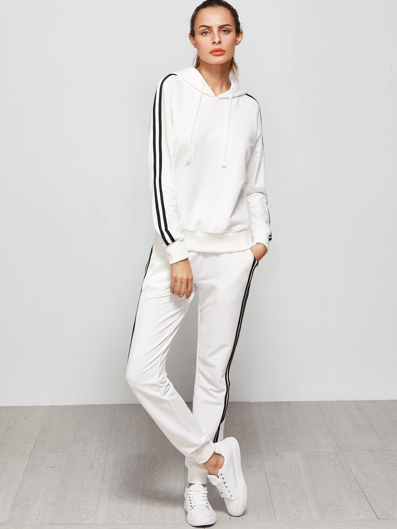 Raglan Sleeve Striped Hoodie And Sweatpants Set striped raglan sleeve hoodie
