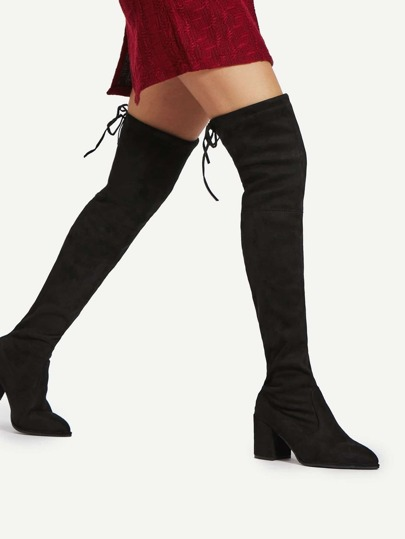 Pointed Toe Lace Up Thigh High Boots