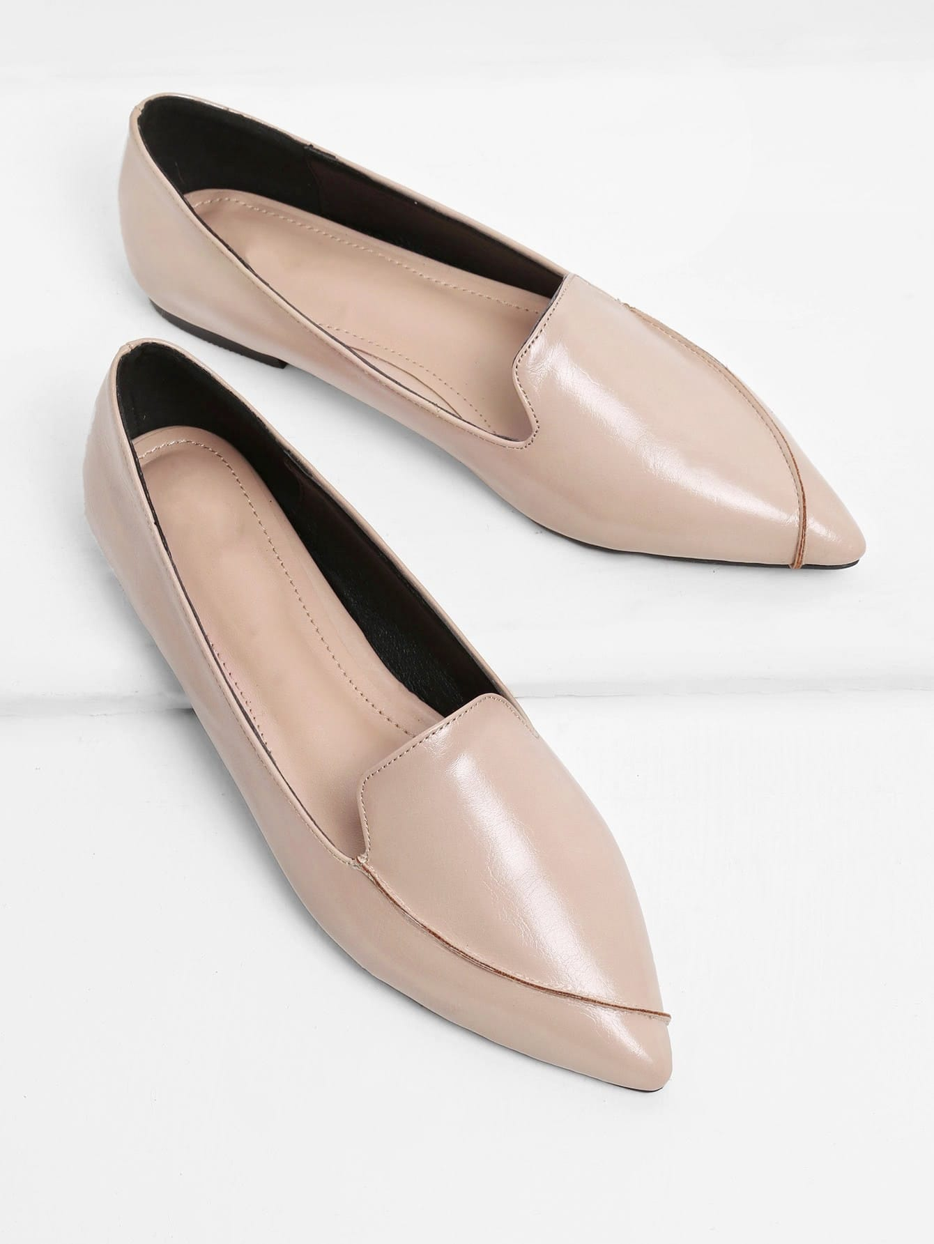 Pointed Toe Faux Leather Flats women ladies flats vintage pu leather loafers pointed toe silver metal design