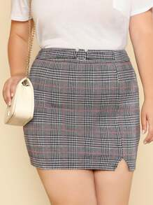 O-Ring Belt Detail Plaid Skirt
