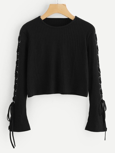 Lace Up Ribbed Crop Sweater