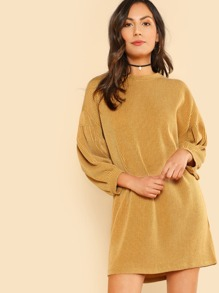 Ribbed Bubble Sleeve Dress MUSTARD