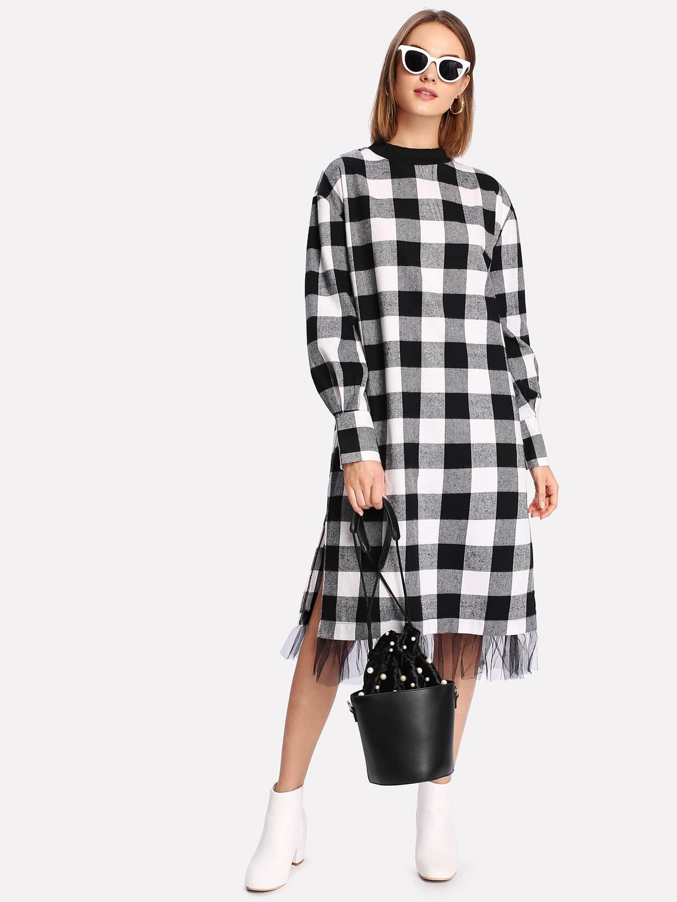 Contrast Mesh Hem Check Plaid Dress zipower pm 5160