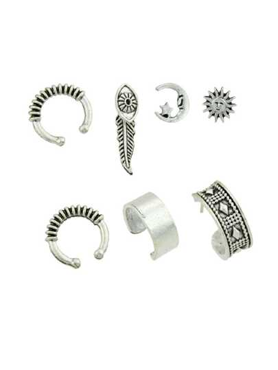 At-Silver 7 Pcs/Set Boho Circle Ear Cuff Clip Cartilage Earrings