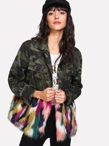 Colorful Faux Fur Trim Camo Print Jacket