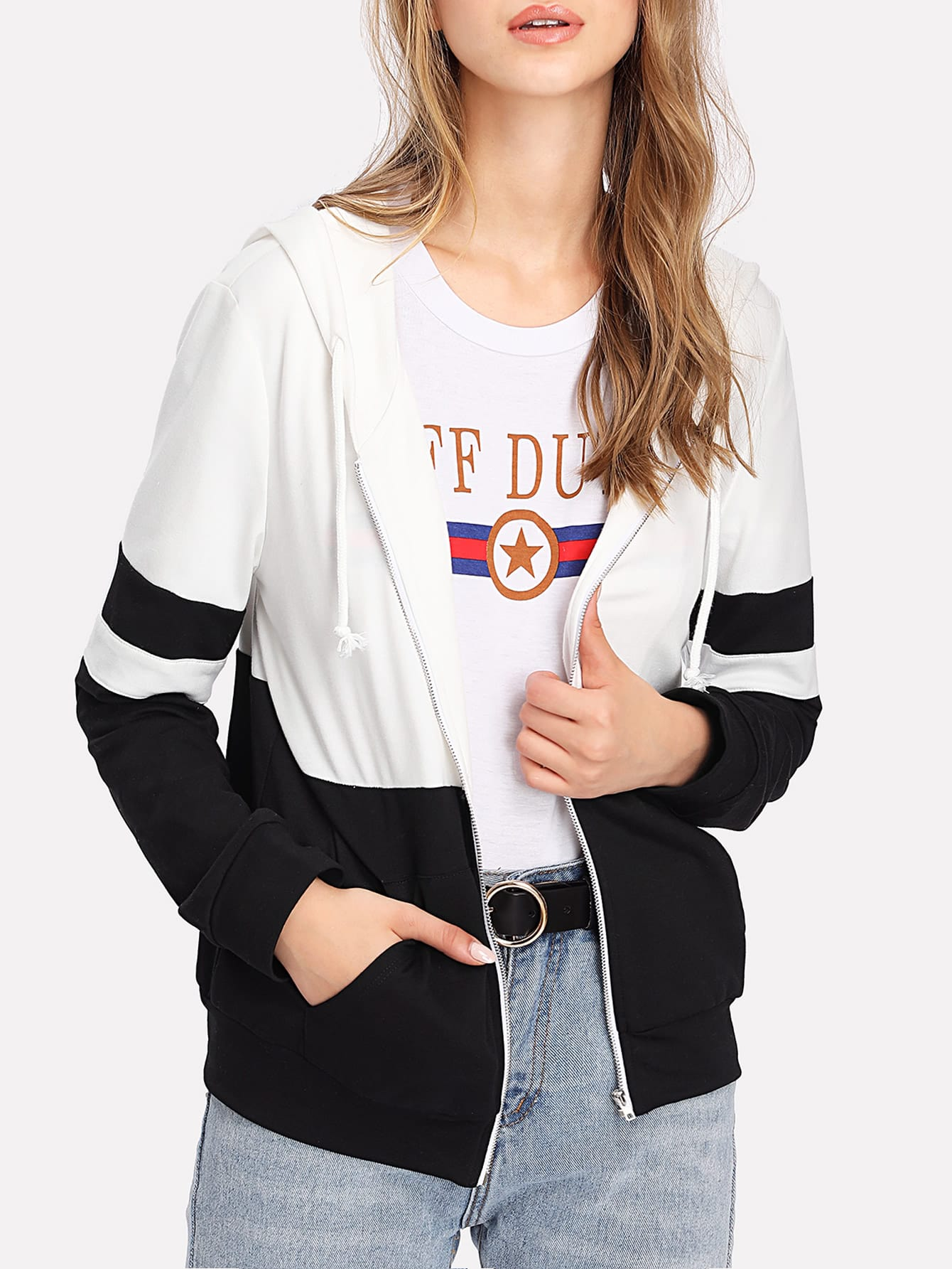 Two Tone Zip Up Hoodie Jacket two tone drop shoulder sweatshirt