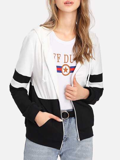Two Tone Zip Up Hoodie Jacket
