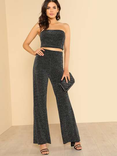 Sparkle Ribbed Bandeau Top & Pants Co-Ord