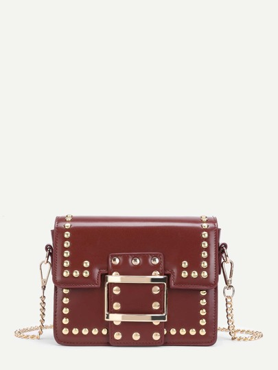 Studded Detail PU Chain Bag