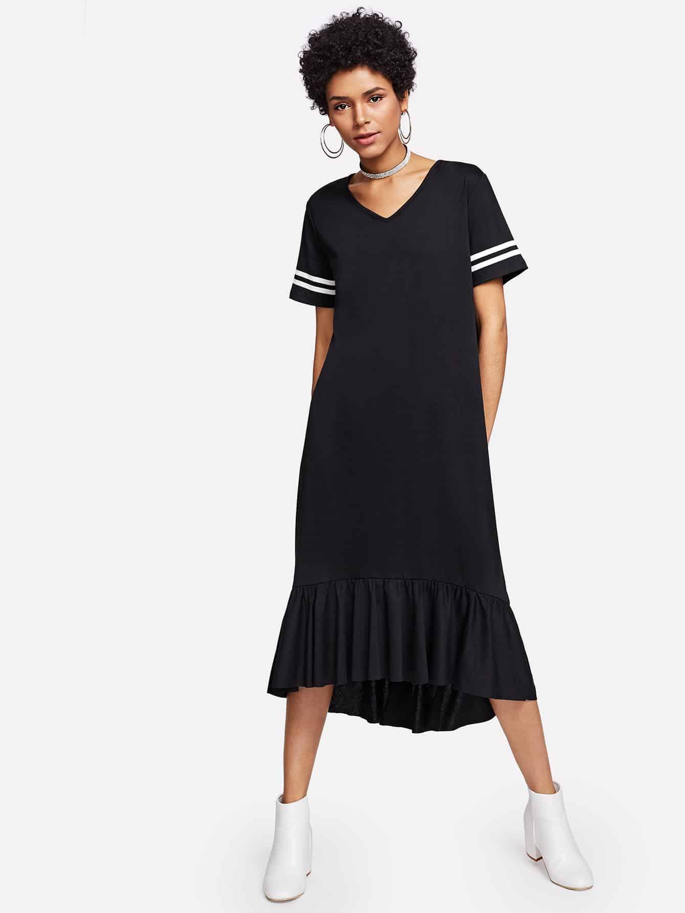 Striped Sleeve Flounce Hem Tee Dress flounce sleeve striped denim dress