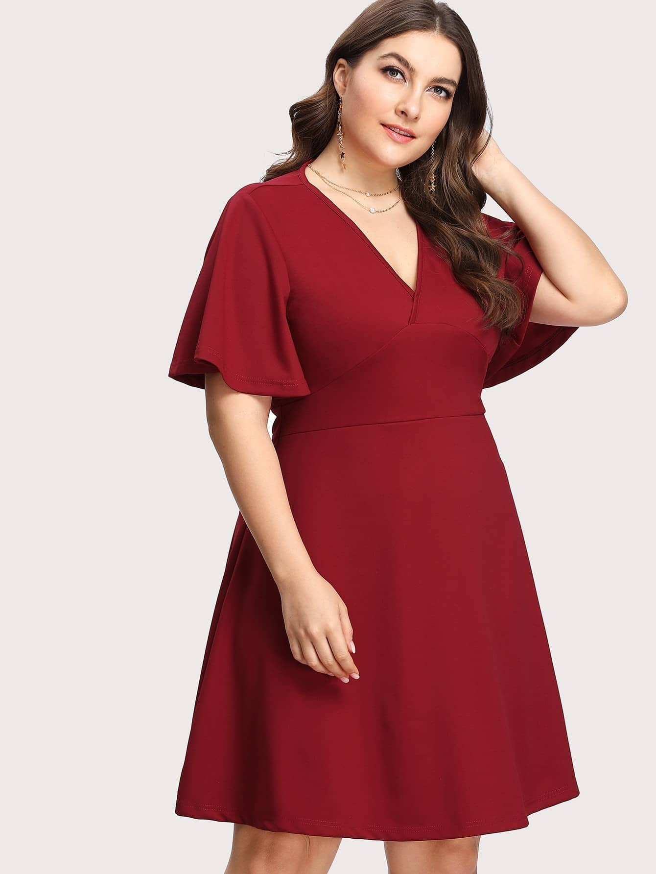 Robe ajustee evasee manche papillon french romwe for Robe rouge évasée