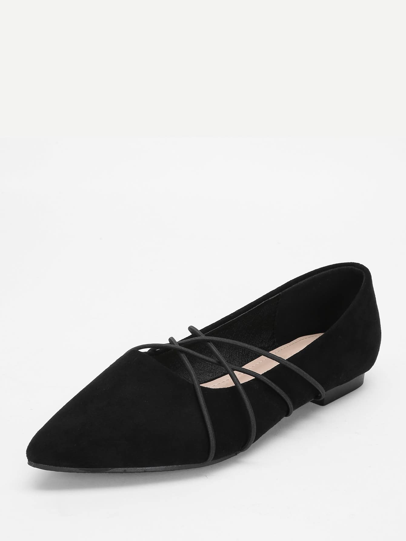 Chaussures plates en su d pointues crois es french romwe for Acheter maison suede