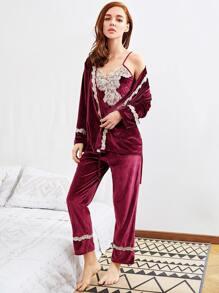 Contrast Lace Trim Velvet Cami Pj Set With Robe