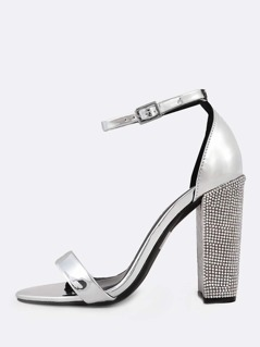 Metallic Ankle Strap Rhinestone Studded Heels SILVER