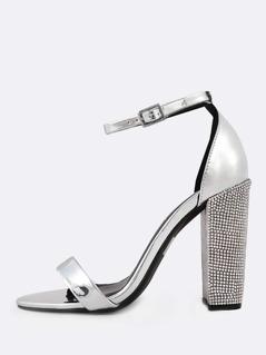 Metallic Ankle Strap Rhinestone Studded Heels SILVER