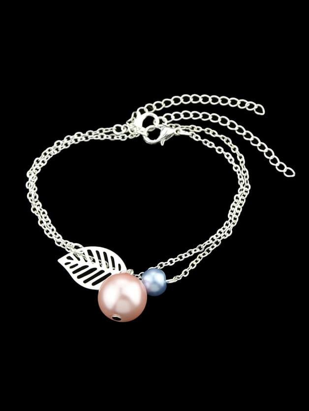 Silver Multi Layers Chain Leaf Shape Charm Simulated-Pearl Bracelets silver multi layers chain with leaf shape charm bracelets