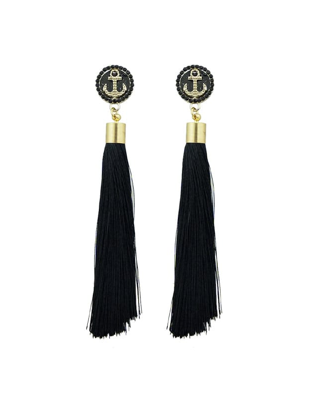 Schwarzer Anker Dekoration mit langen Quaste Ohrringe