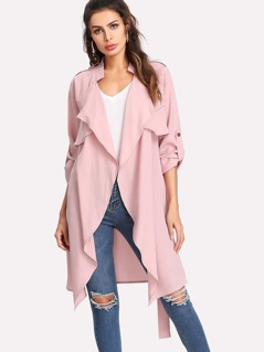 Roll Tab Sleeve Flap Front Belted Coat