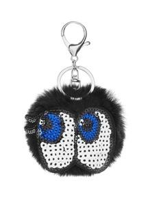 Sequin Eye Design Pom Pom Keychain
