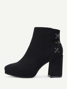High Heeled Suede Ankle Boots