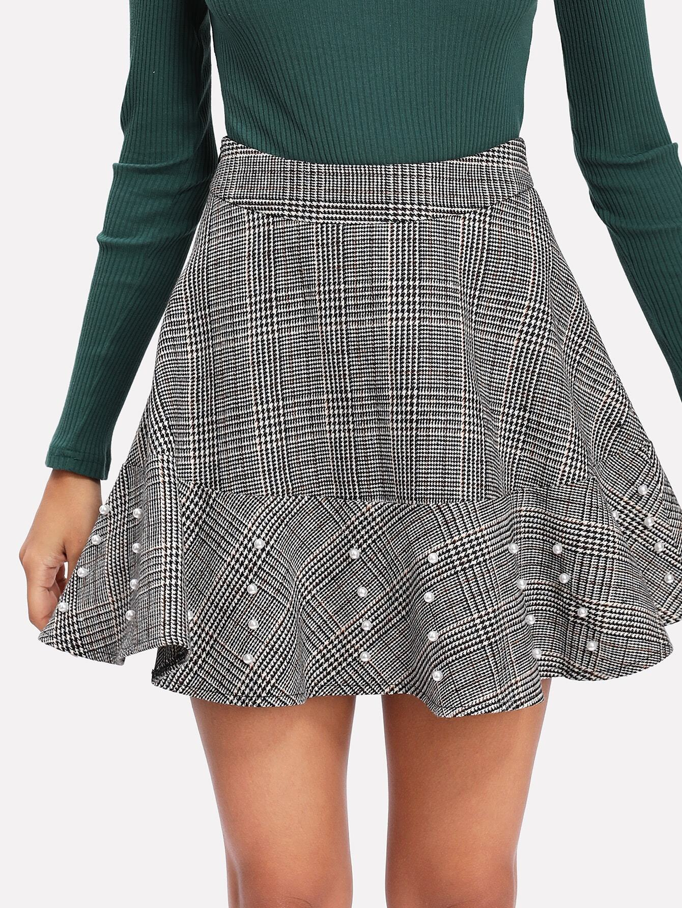 Pearl Beading Plaid Flared Skirt zip back fit and flared plaid dress