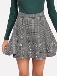 Pearl Beading Plaid Flared Skirt