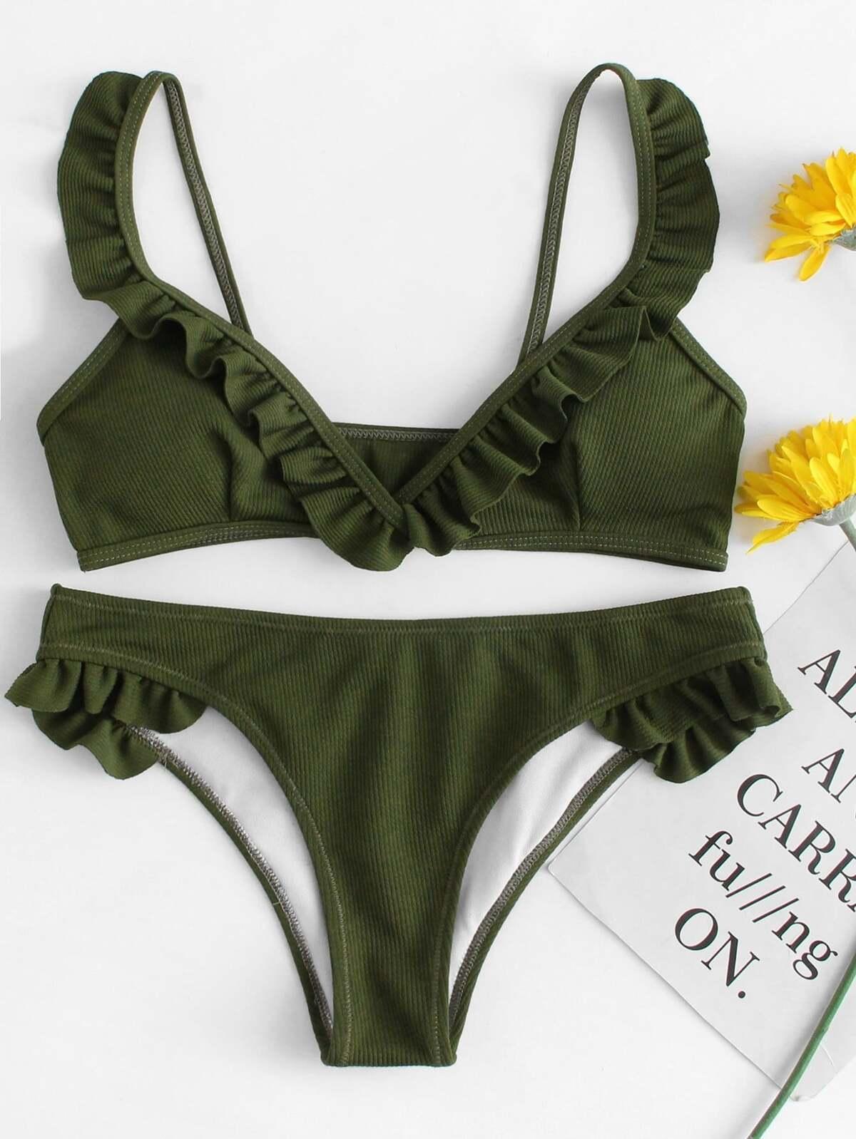 Ruffle Hem Ribbed Bikini Set