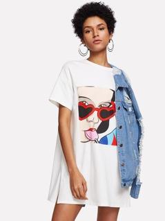 Slit Side Figure Print Drop Shoulder Tee Dress