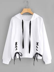 Lace Up Detail Hoodie