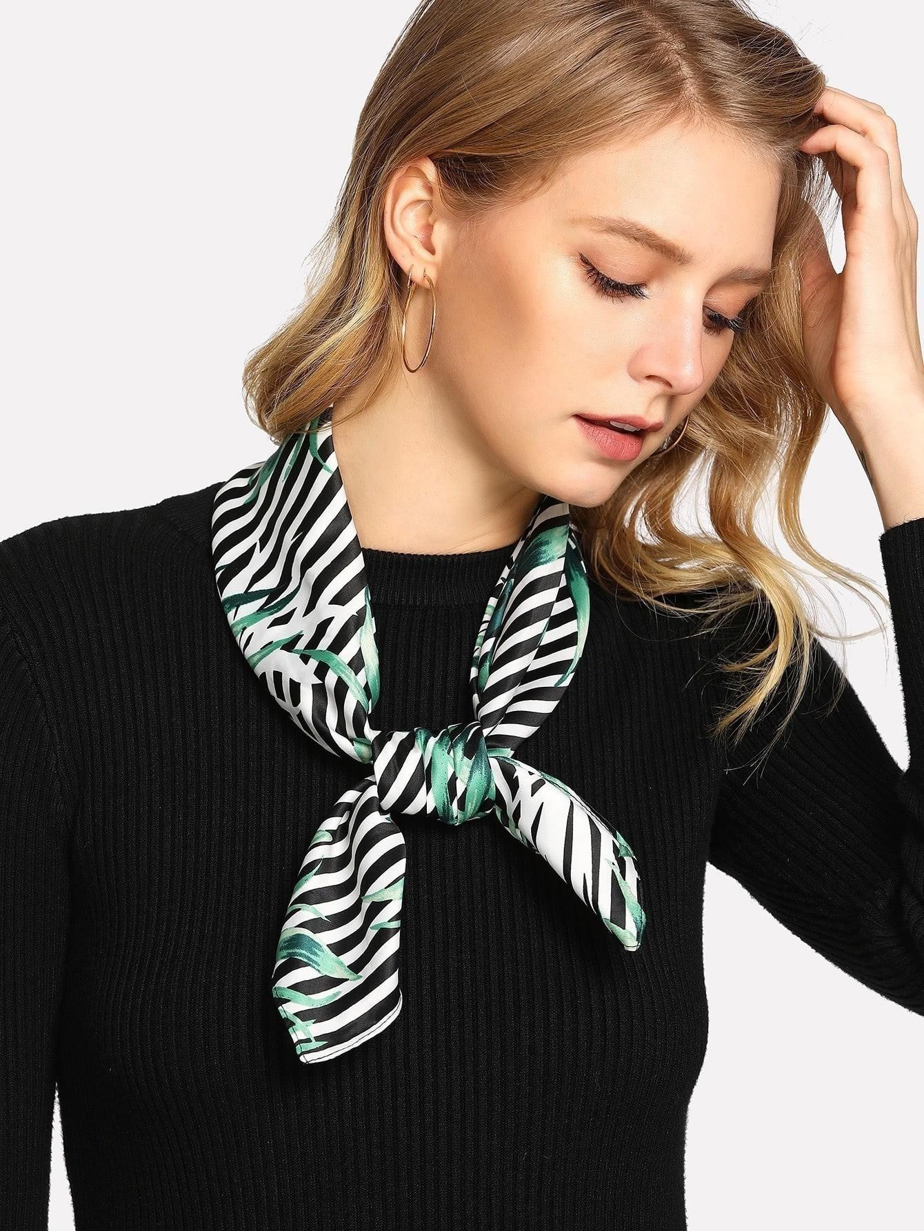 Leaf Print Striped Bandana calico print satin bandana