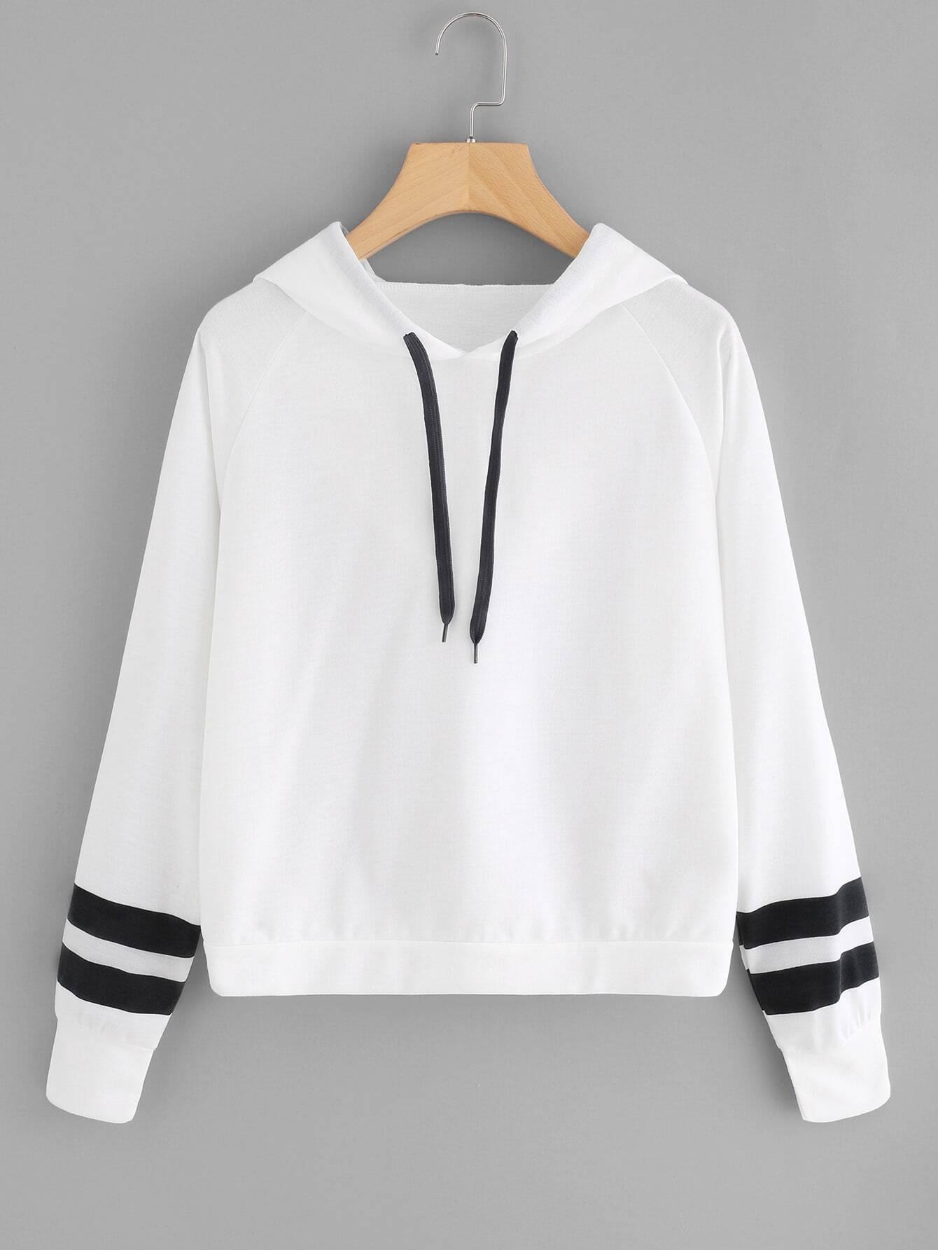 Varsity Striped Raglan Sleeve Hoodie striped raglan sleeve hoodie