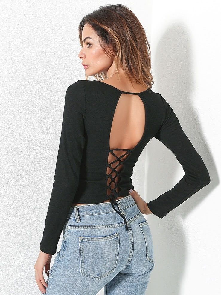 Lace Up Open Back Crop Tee silver sequins embellished open back lace up top