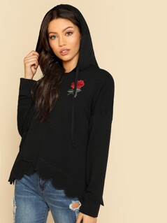 Rose Patch Scalloped Overlap Hoodie