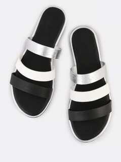 Multi Color 3 Strap Slip On Sandals BLACK